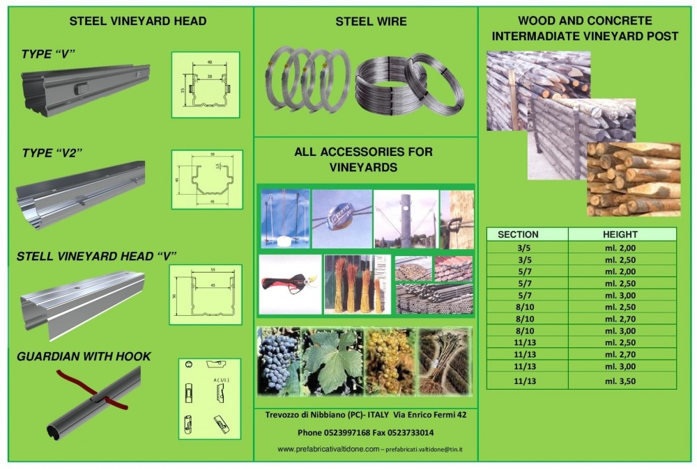 Manufacturers of vineyard posts and accessories - Prefabbricati Valtidone